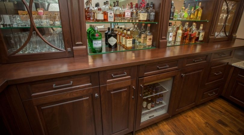 beverage cooler in a bar under the counter