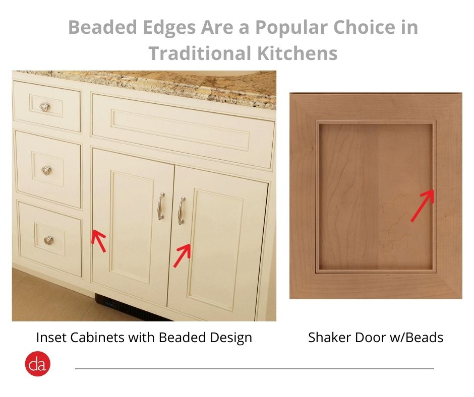 Beaded edges in shaker style cabinets