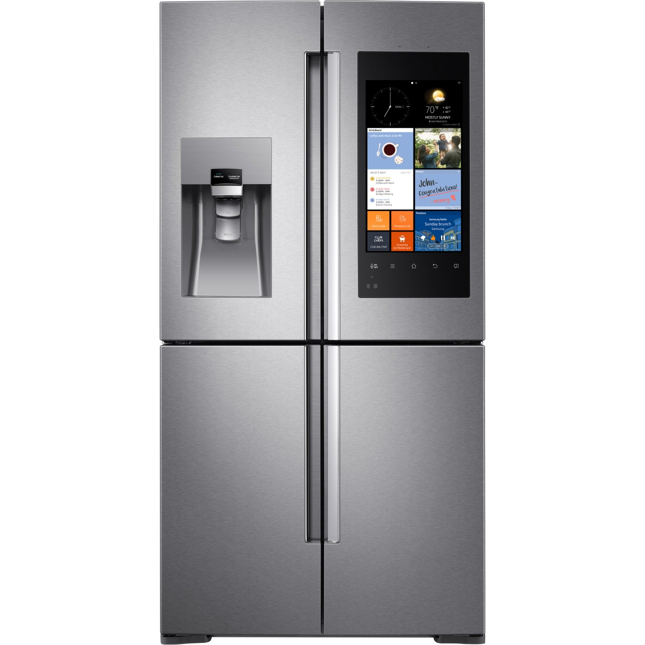 22 cu ft counter depth family hub refrigerator stainless steel