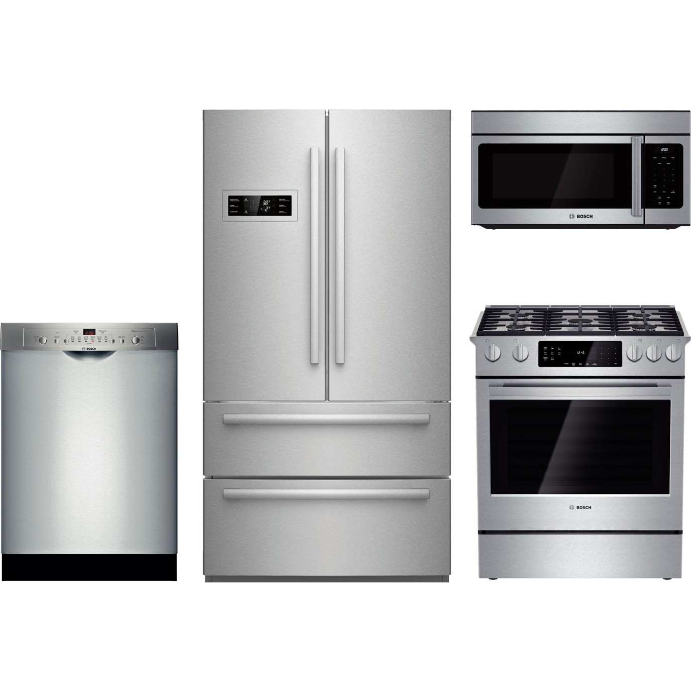 Bosch 4 Piece Kitchen Package With Hgi8054uc Gas Range B21cl80sns Refrigerator She3ar75uc