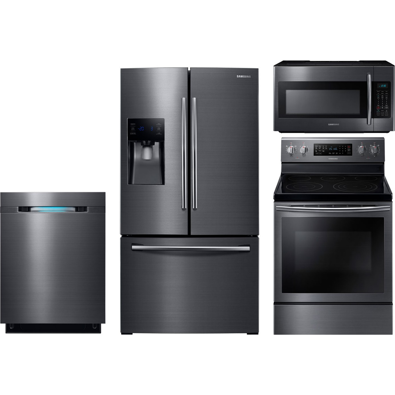 Samsung 4 piece kitchen package with ne59j7630sg electric for Kitchen appliance packages