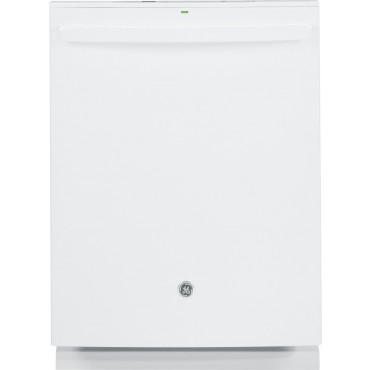 Gdt580sgfww ge stainless steel interior dishwasher with hidden controls white for White dishwasher with stainless steel interior