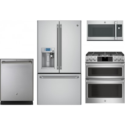 GE Cafe 4-Piece Kitchen Appliances Package w/Slide-In Gas Range - Stainless  Steel