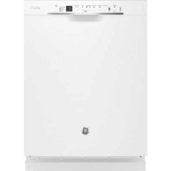 Pdf820sgjww ge profile 24 stainless steel interior dishwasher 45db white for White dishwasher with stainless steel interior