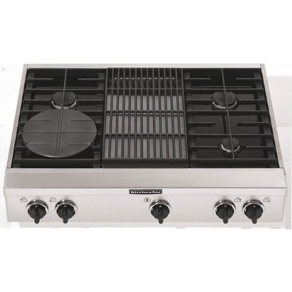 "KitchenAid KGCP462KSS 36"" Sealed Burner Commercial-Style Gas Cooktop with Simmer Plate & Grille/Griddle: 4 Burners w/ Grill"