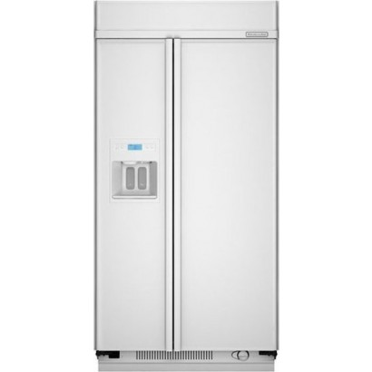 "Kitchenaid Refrigerator White kitchenaid ksss42qtw 42"" built-in sideside refrigerator with"