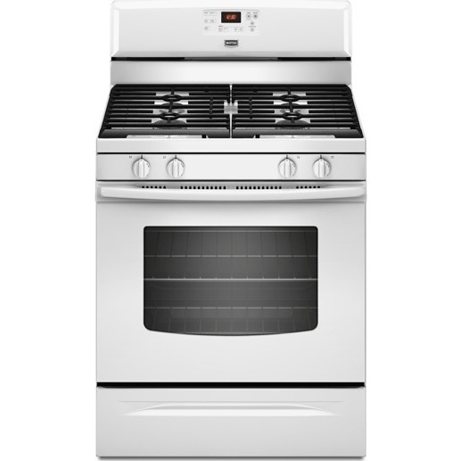 maytag mgr7685aw 30 u0026quot  freestanding gas range with 4 burners  5 0 cu  ft  capacity oven  15 000