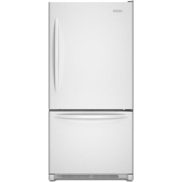 Kitchenaid Kbrs20evwh 19 9 Cu Ft Counter Depth Bottom Freezer Refrigerator With 4 Adjustable