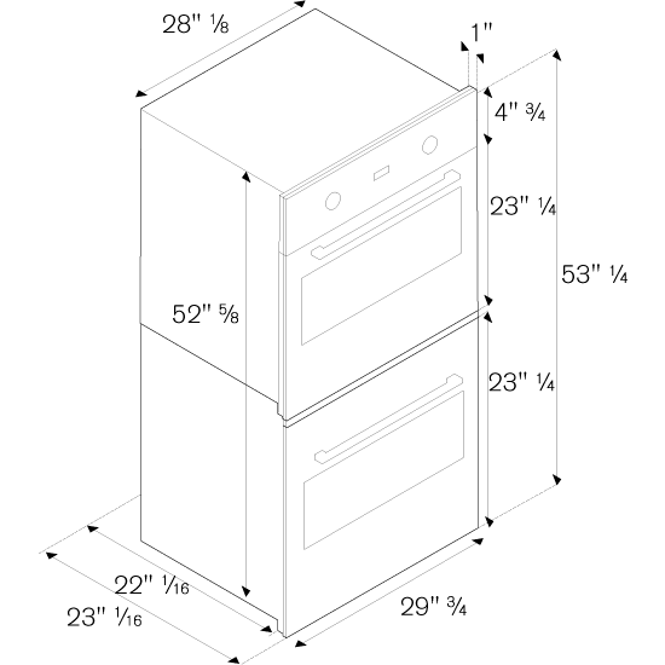 Profd30xv Bertazzoni Pro Series 30 Quot Double Wall Oven