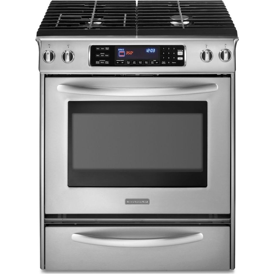 Kitchenaid kdss907sss 30 slide in dual fuel range with for 0 kitchen appliances