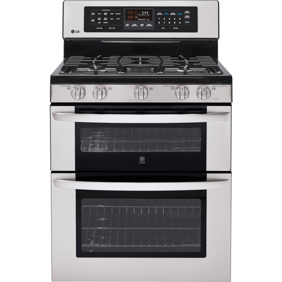 Double Oven Griddle ~ Lg ldg st quot freestanding gas double oven range with