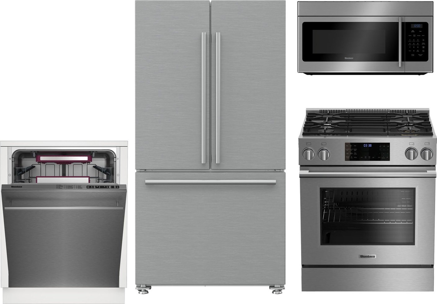 Blomberg 4-Piece Kitchen Package with BGR30420SS Gas Range ...