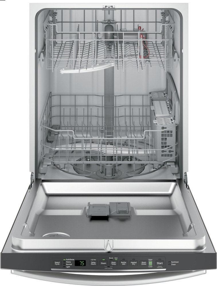 Gdt635hsjss ge hybrid stainless steel interior dishwasher with hidden controls stainless steel for White dishwasher with stainless steel interior