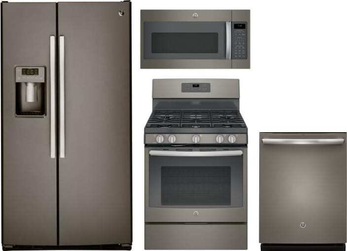 Ge 4 Piece Appliance Package With Gss25gmhes Refrigerator