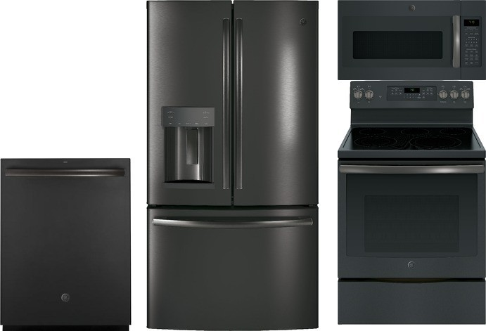 GE Black Slate Appliance Package with Electric Range, Steam Self Clean