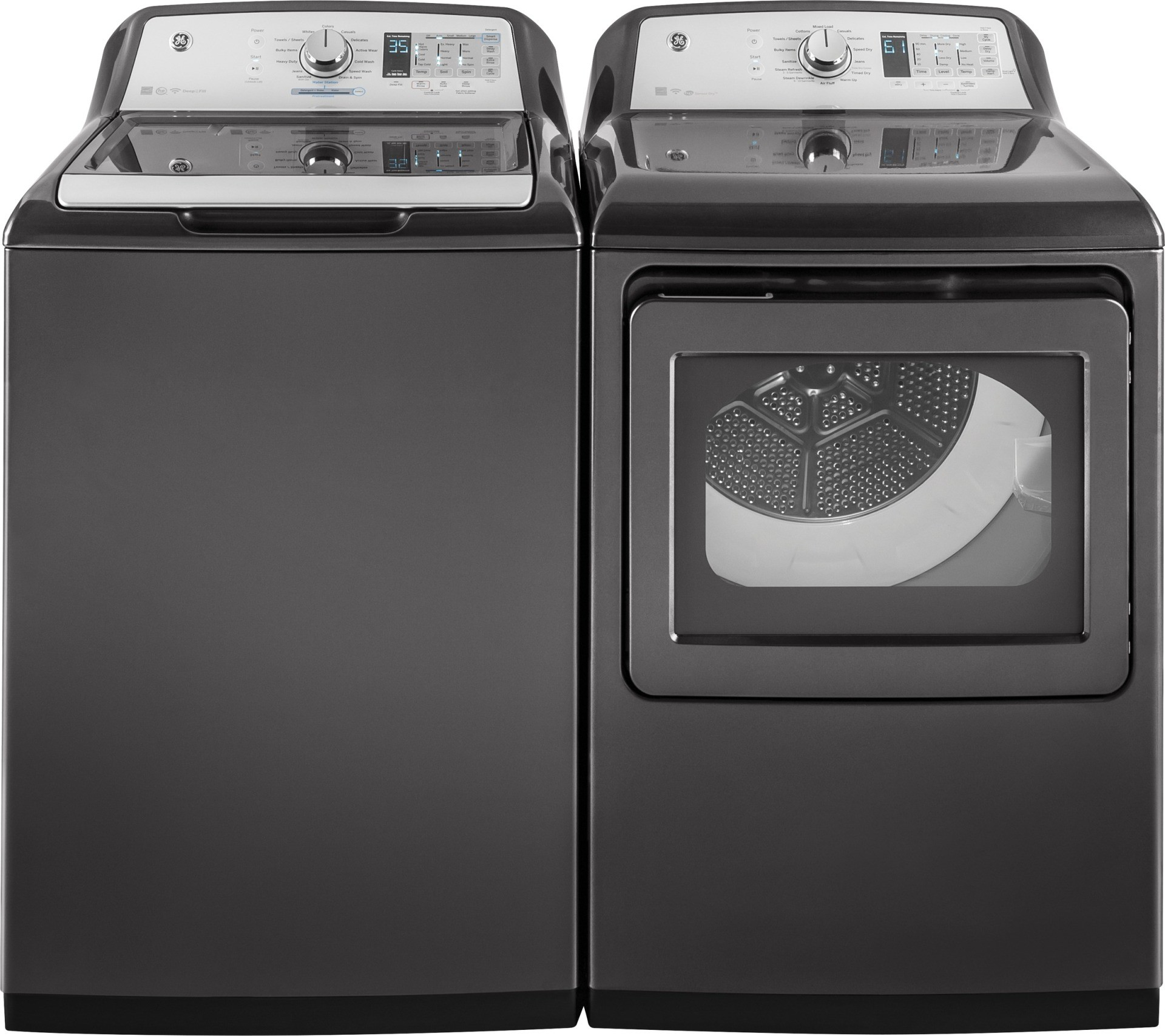 "GE 27"" Electric Dryer With Steam - Diamond Gray"