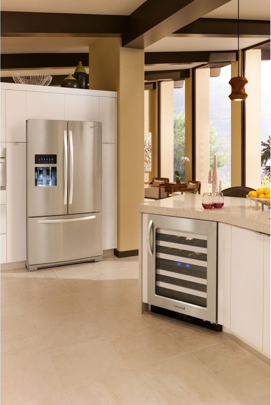 Wine Refrigerator Reviews >> KitchenAid KFIS29PBMS 28.6 cu. ft. French Door Refrigerator with SpillClean Glass Shelves, Auto ...