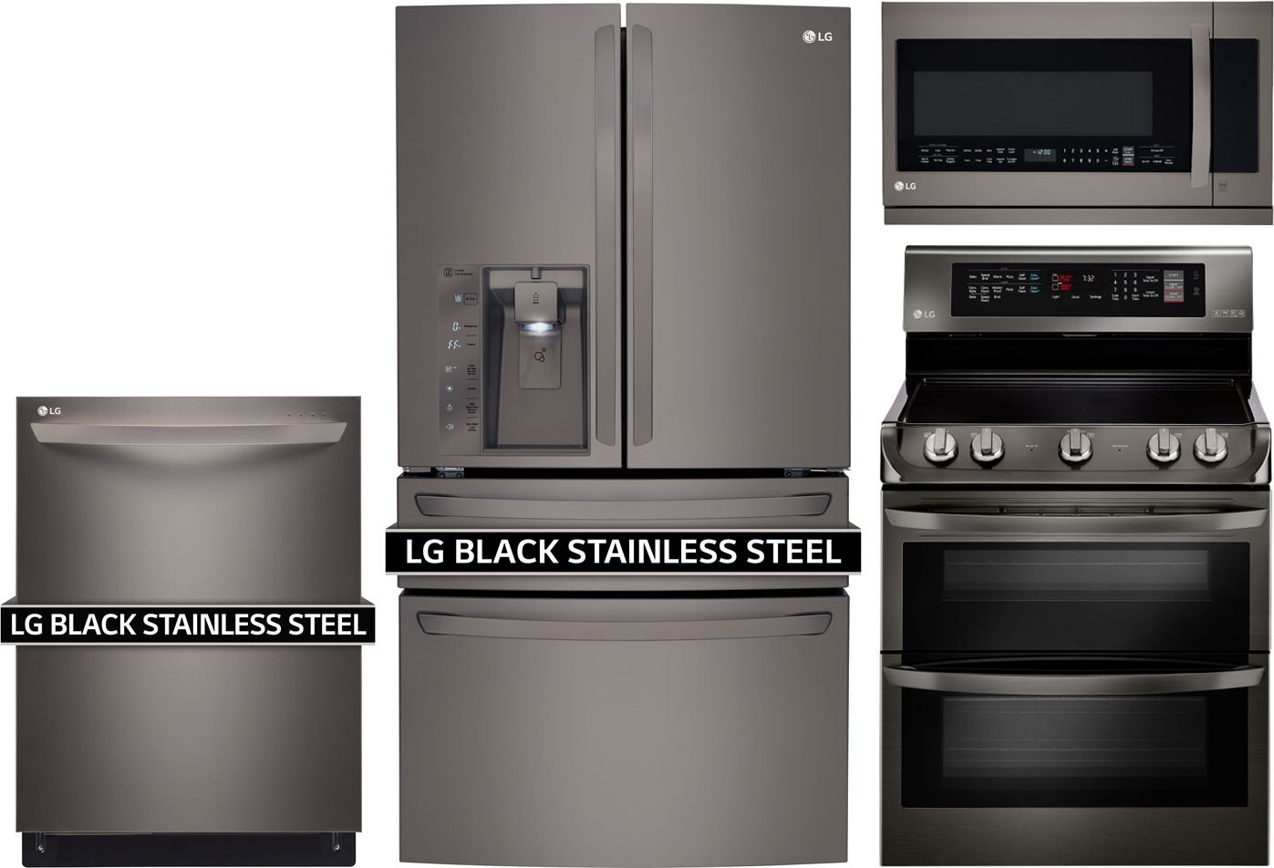 Lg 4 Piece Kitchen Package With Lde4415bd Electric Range Lmxc23746d Refrigerator Ldt9965bd