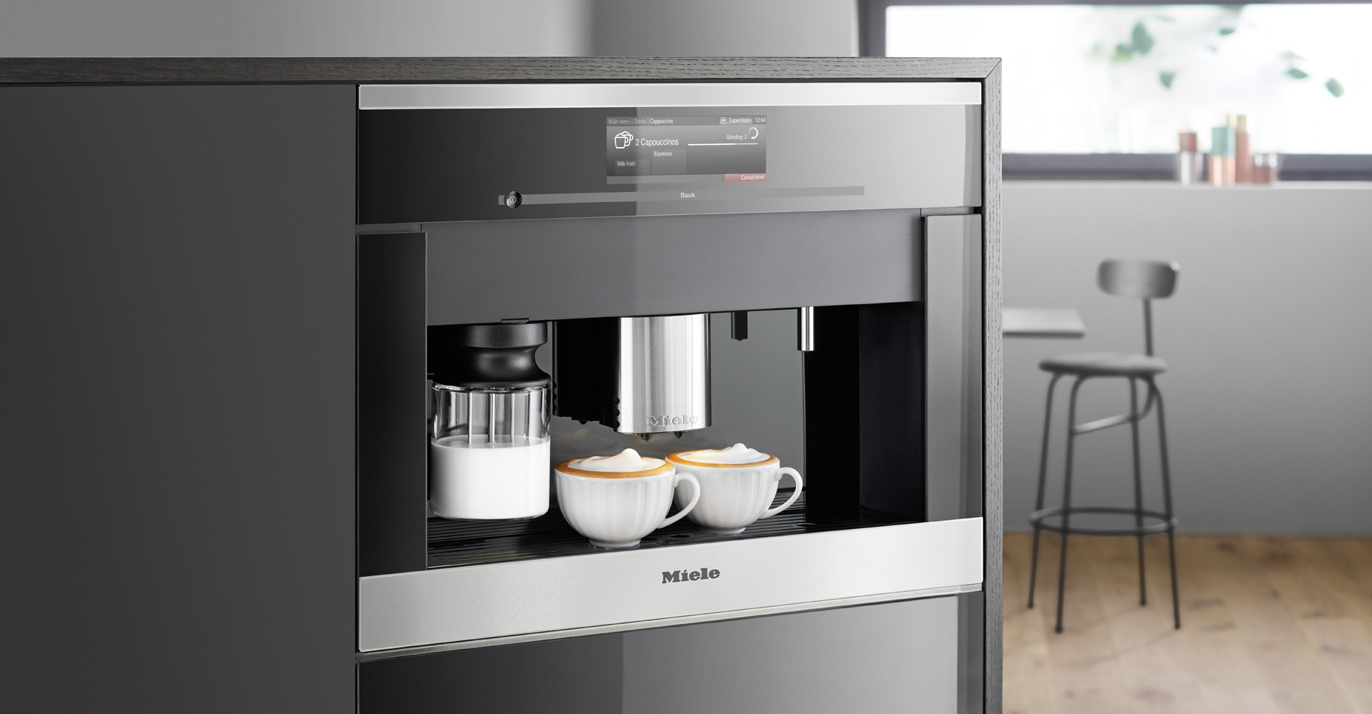 fully inch maker tray plumbed bin settings coffee frother milk front ajmadison cgi water drip hot machine cappuccino smeg automatic function with plumbing