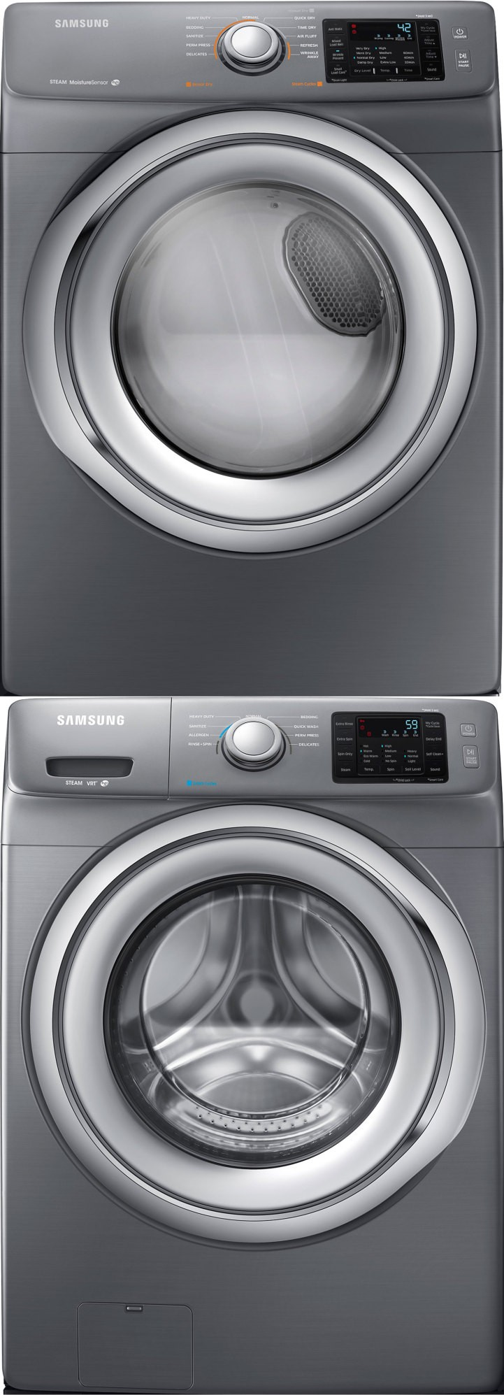 Stacked front load washer and dryer - Samsung Wf42h5200ap Front Load Washer Dv42h5200ep Electric Dryer W Stacking Kit Main