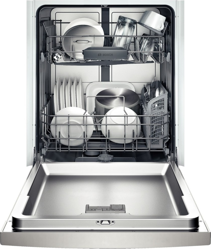 She3ar75uc bosch ascenta 24 dishwasher w recessed handle stainless steel for White dishwasher with stainless steel interior