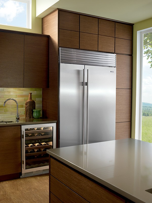 Sub Zero Bi 42sid S Ph 42 Built In Side By Side Refrigerator With Internal Dispenser Classic Stainless Pro Handles