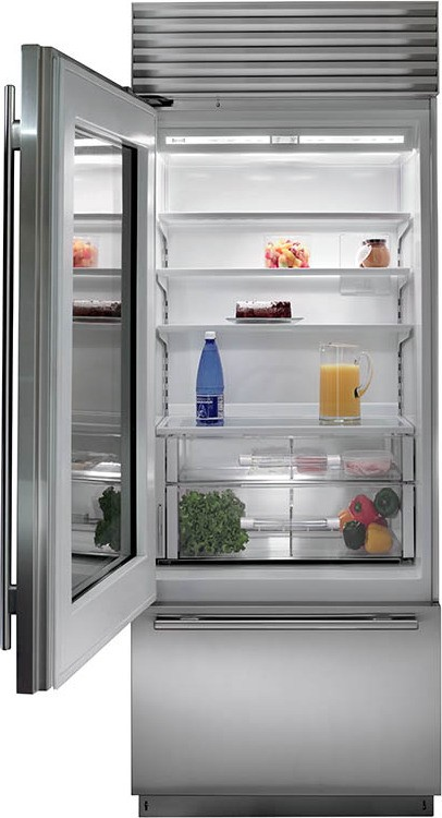 "Sub Zero Appliances >> Subzero BI-30UG/S/TH 30"" Stainless Steel Built In Glass Door Over Under Refrigerator Tubular Handle"