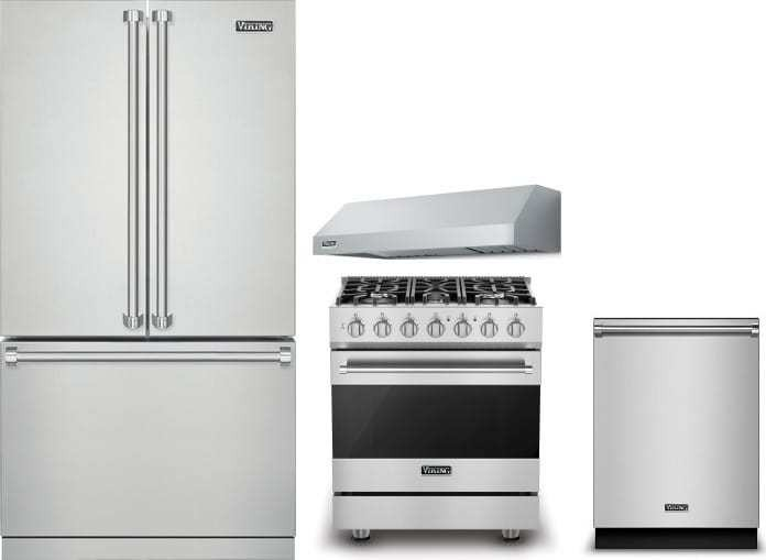 Viking 4 Piece Appliance Package With Rvrf3361ss