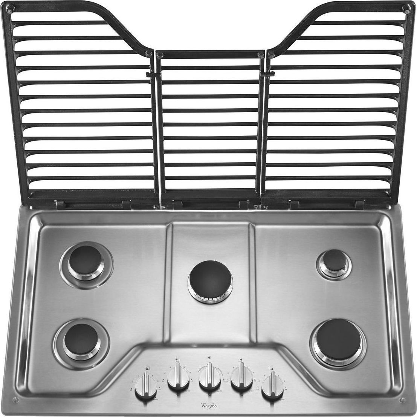wcg97us6ds whirlpool 36 5 burner gas cooktop ez 2 lift cast iron grates. Black Bedroom Furniture Sets. Home Design Ideas