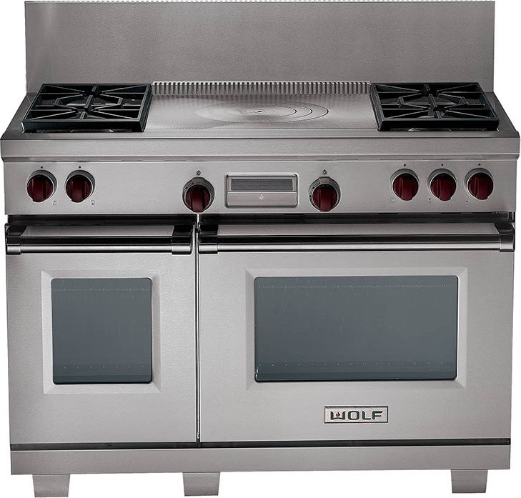 """Wolf DF484F 48"""" Dual Fuel Range With 4 Sealed Burners"""