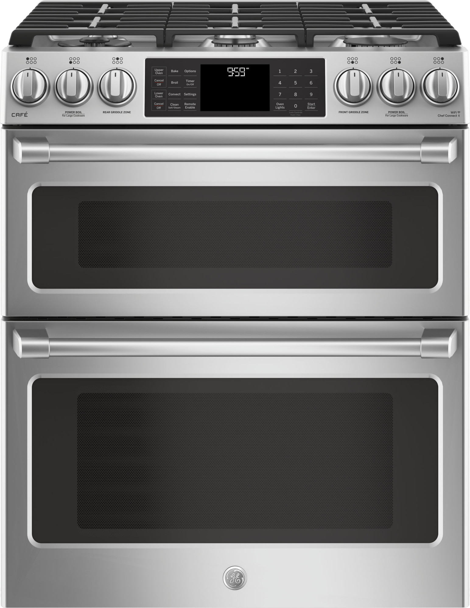 cgs995selss ge cafe 30 slide in front control gas double oven