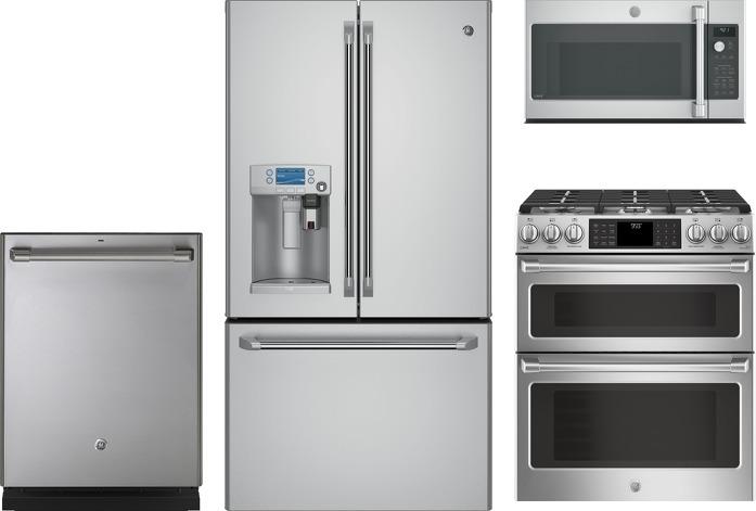 GE Cafe 4-Piece Kitchen Appliances Package w/Slide-In Gas Range - Stainless  Steel