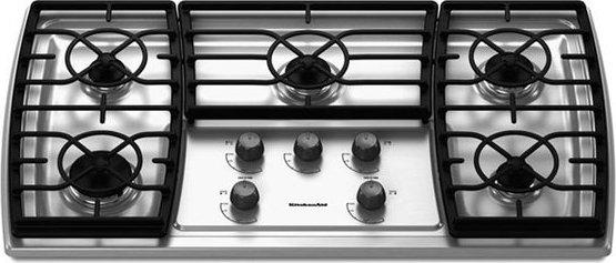 kitchenaid kgck366vss 36 gas cooktop with 5 sealed burners