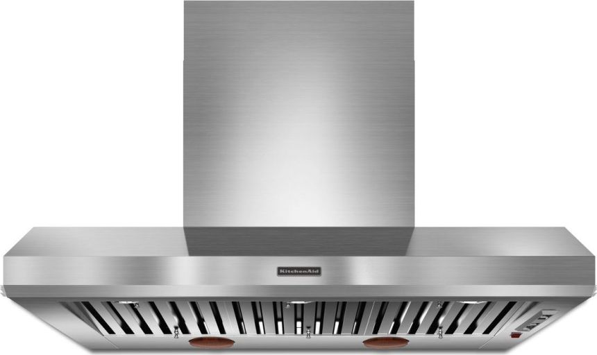 Kitchenaid Kxw9748yss 48 Wall Mount Chimney Range Hood With Optional Blowers 108k Btu Threshold Automatic Turn On Hidden 3 Speed Control And Warming Lamps