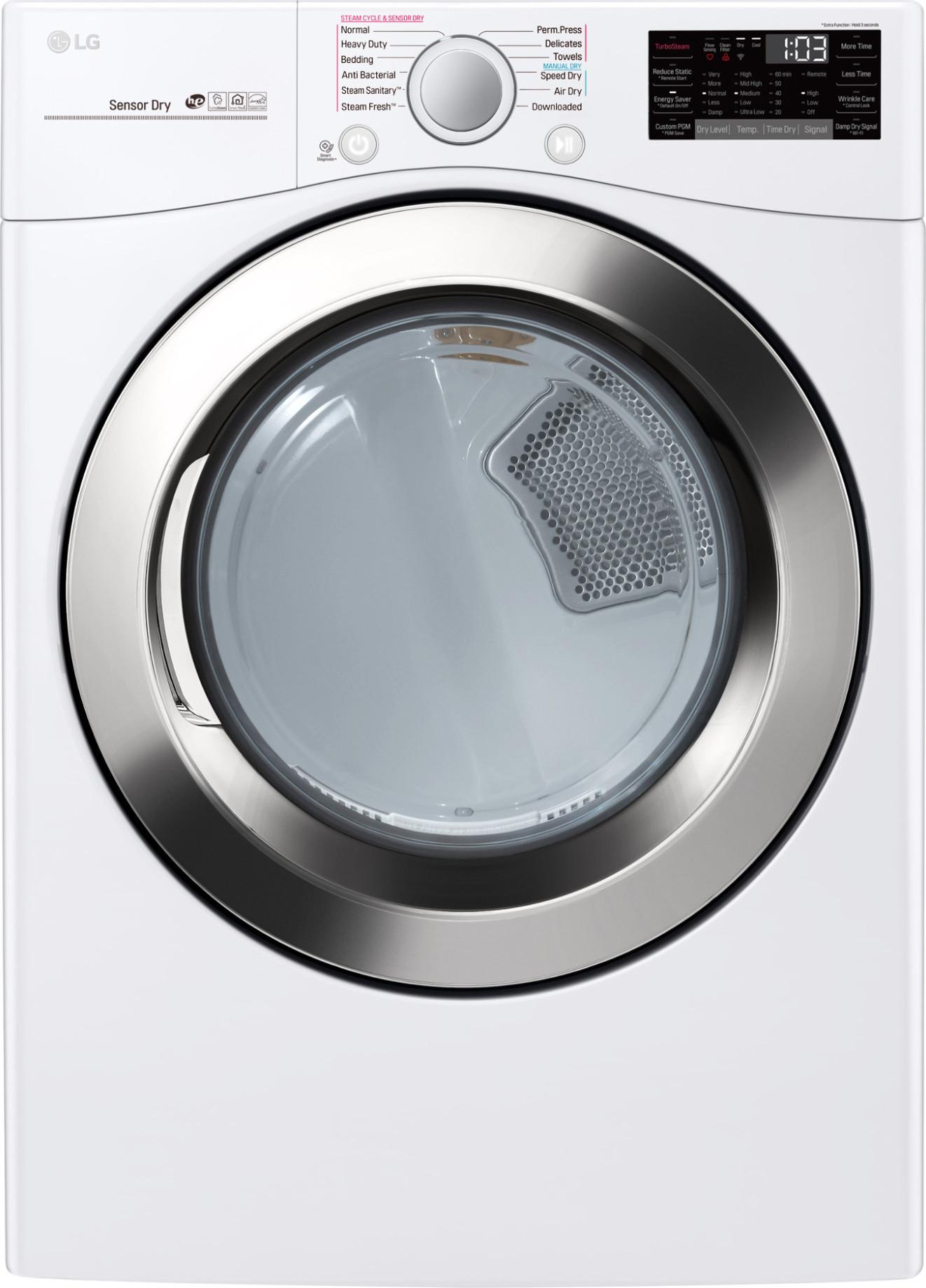 "LG DLGX3701W 27"" 7.4 cu. ft. Gas Dryer, TrueSteam - White"