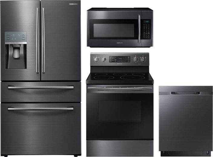Samsung 4 Piece Appliance Package With Rf28jbedbsg Refrigerator Ne59m4320sg Electric Range Dw80k5050ug Dishwasher Me18h704sfg Microwave