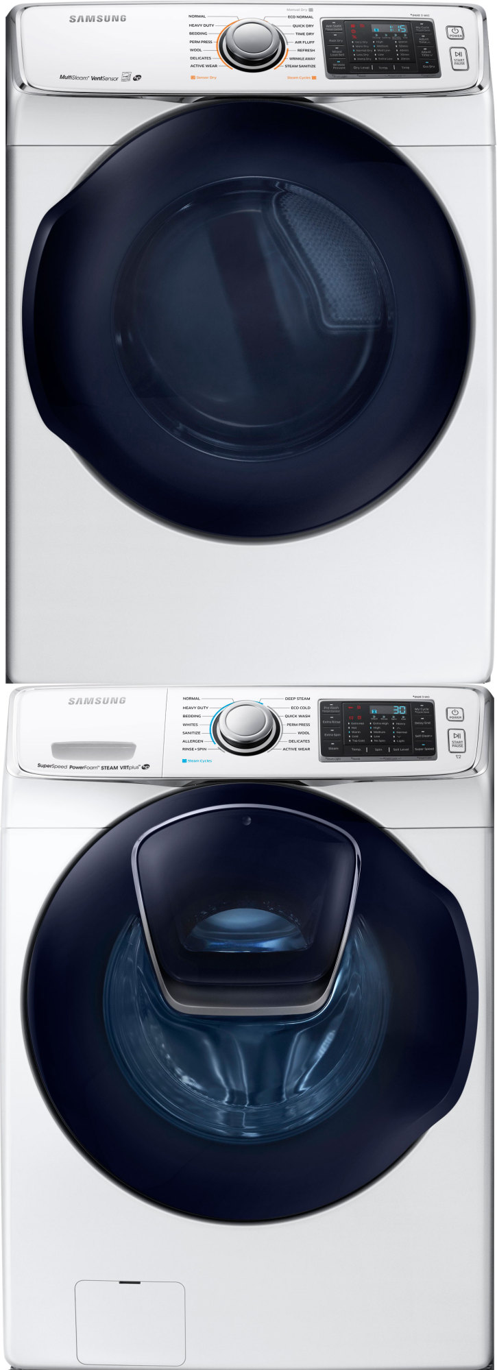 samsung wf50k7500aw front load washer u0026 dv50k7500gw gas dryer wstacking kit
