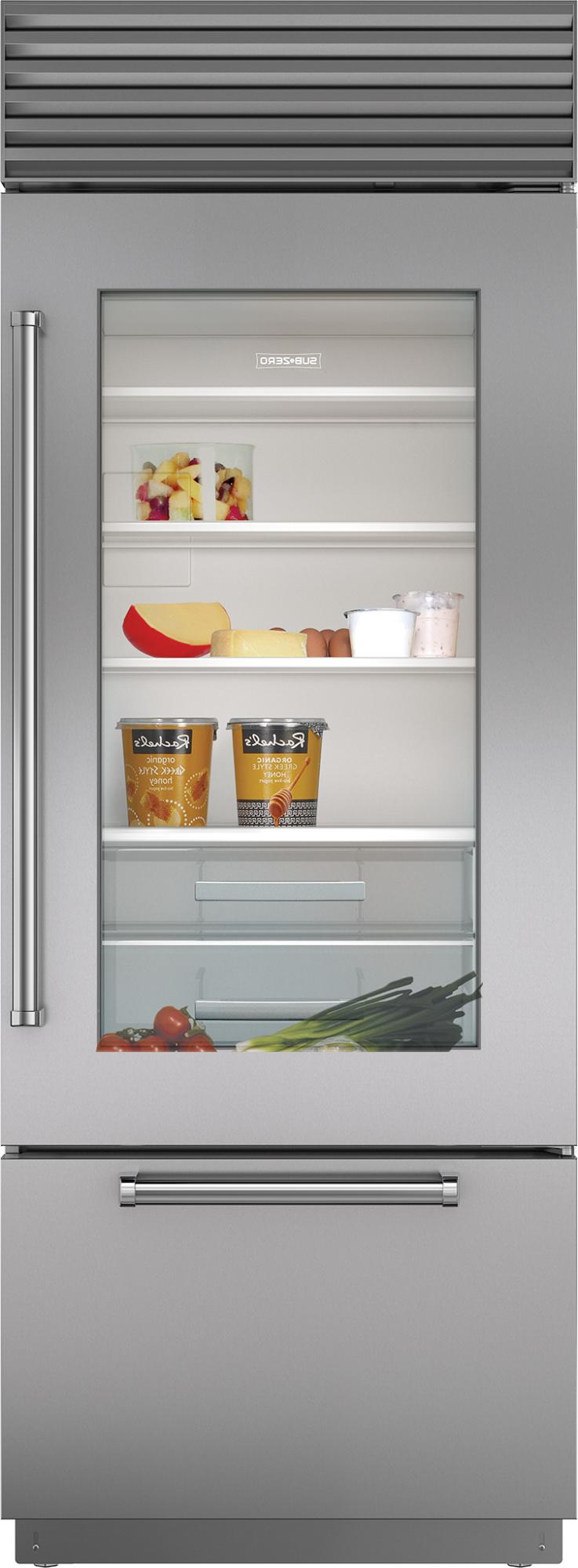 """Sub Zero Glass Door Refrigerator sub-zero bi-30ug/s/ph-rh 30"""" built-in bottom freezer"""