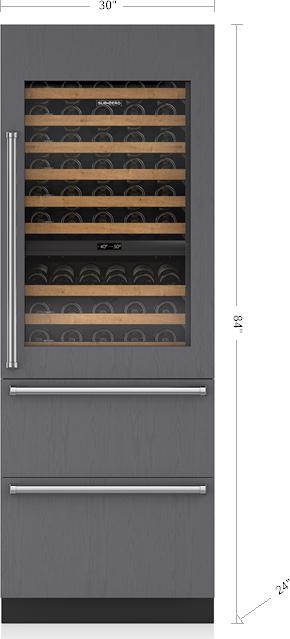 Sub Zero Iw 30r Rh 30 Integrated Wine Storage 2 Refrigerator Drawers Right Hinge Panel Ready