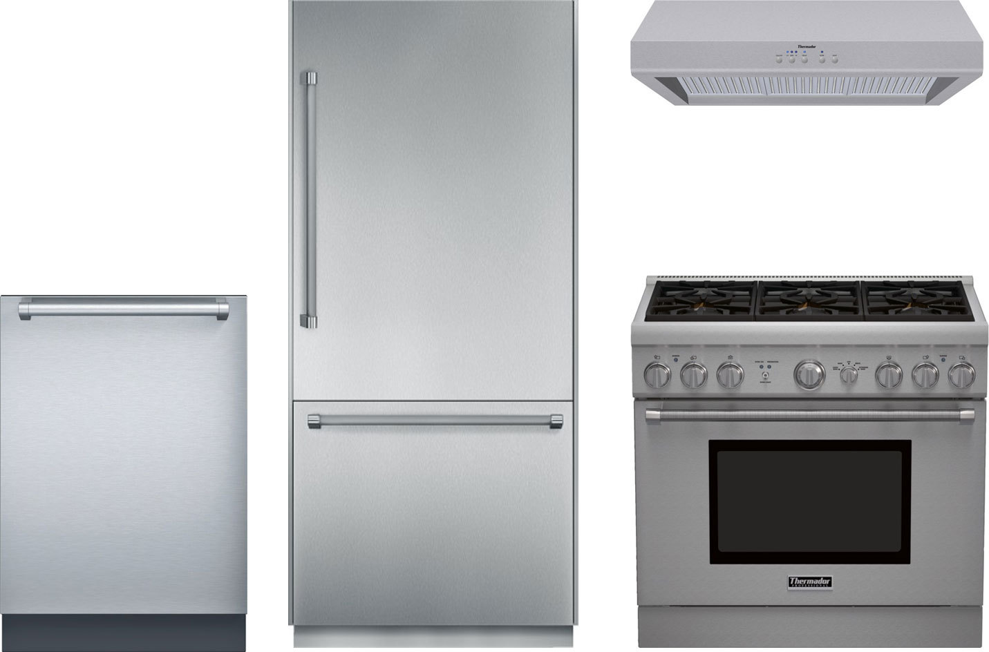 Superb Thermador Kitchen Package With PRG366GH Gas Range, T36BB820SS Refrigerator,  DWHD440MFP Dishwasher U0026 HPWB36FS Range Hood